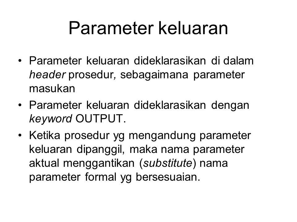 Parameter keluaran Parameter keluaran dideklarasikan di dalam header prosedur, sebagaimana parameter masukan.
