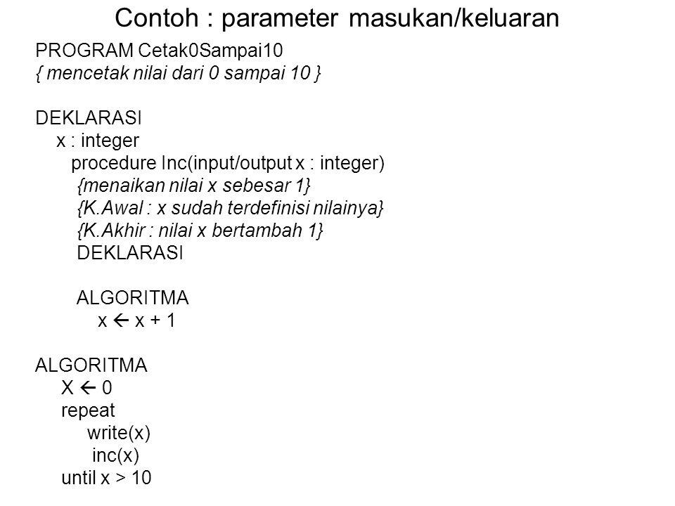Contoh : parameter masukan/keluaran