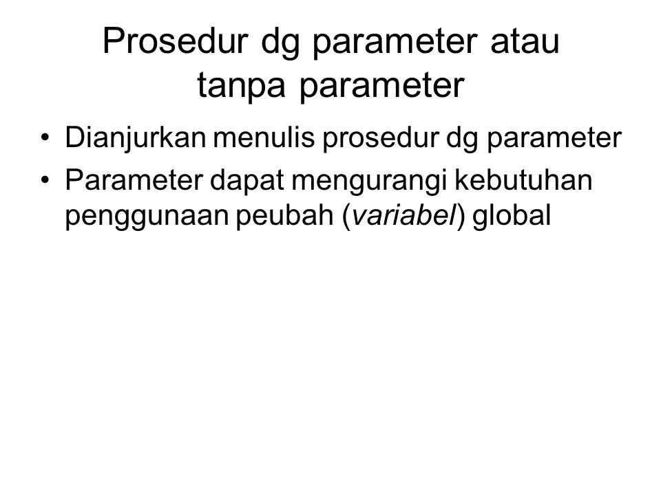 Prosedur dg parameter atau tanpa parameter