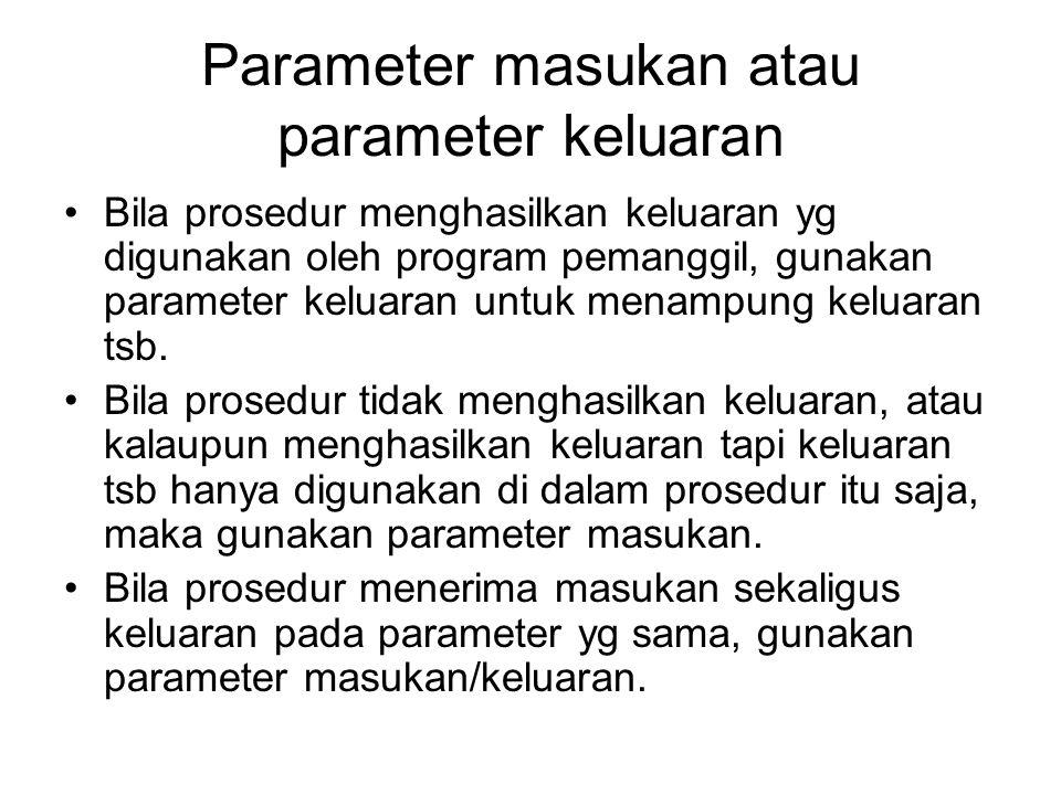 Parameter masukan atau parameter keluaran