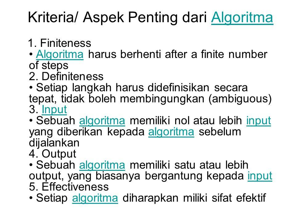 Kriteria/ Aspek Penting dari Algoritma