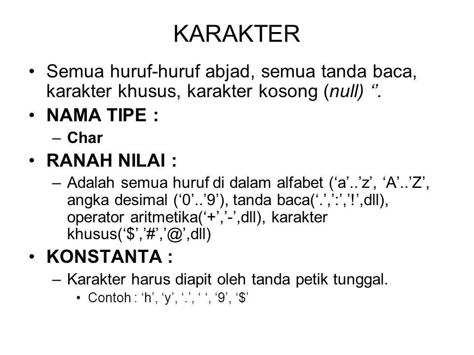 KARAKTER Semua huruf-huruf abjad, semua tanda baca, karakter khusus, karakter kosong (null) ''. NAMA TIPE :