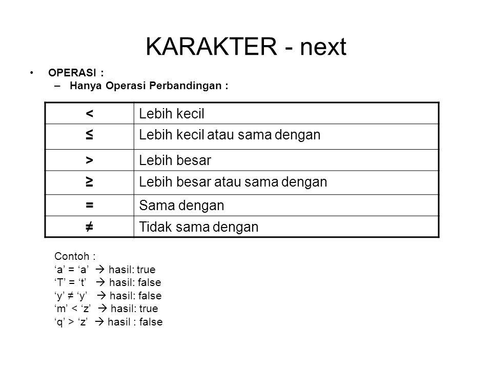 KARAKTER - next < Lebih kecil ≤ Lebih kecil atau sama dengan >