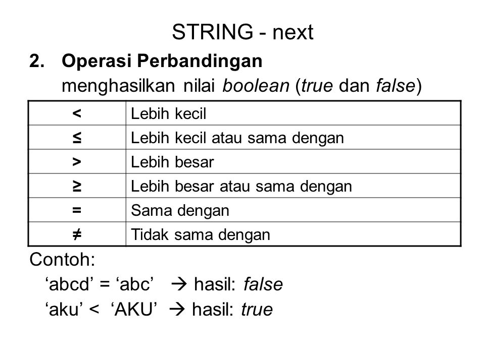 STRING - next Operasi Perbandingan