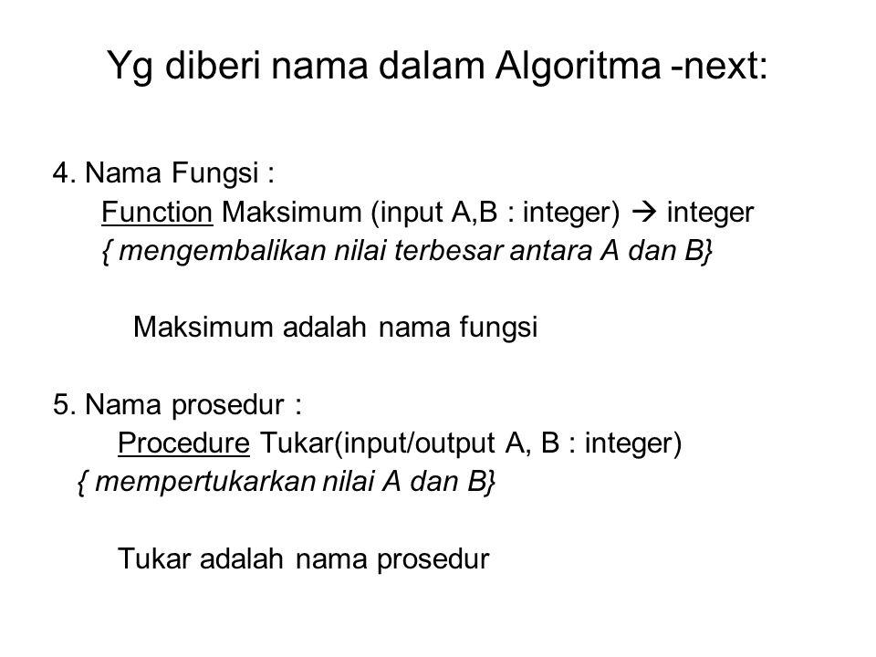 Yg diberi nama dalam Algoritma -next: