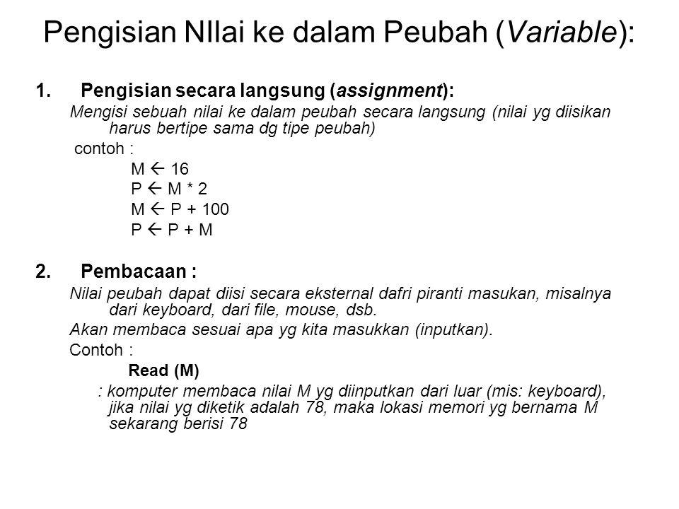 Pengisian NIlai ke dalam Peubah (Variable):