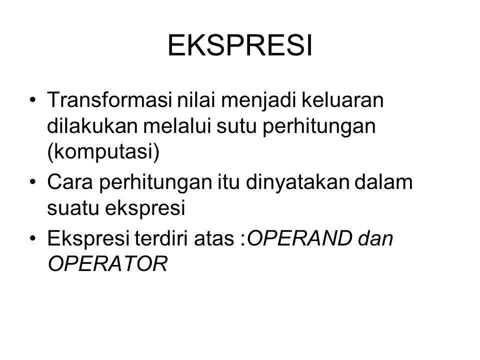 EKSPRESI Transformasi nilai menjadi keluaran dilakukan melalui sutu perhitungan (komputasi) Cara perhitungan itu dinyatakan dalam suatu ekspresi.
