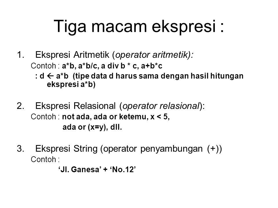 Tiga macam ekspresi : Ekspresi Aritmetik (operator aritmetik):