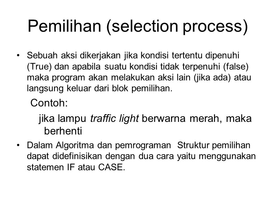 Pemilihan (selection process)