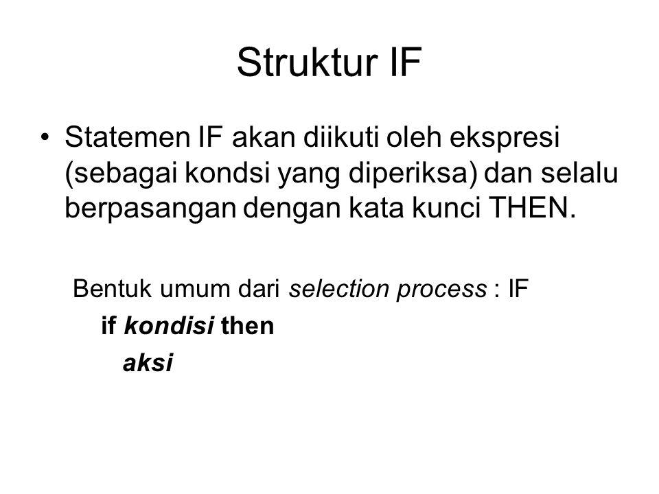 Struktur IF Statemen IF akan diikuti oleh ekspresi (sebagai kondsi yang diperiksa) dan selalu berpasangan dengan kata kunci THEN.