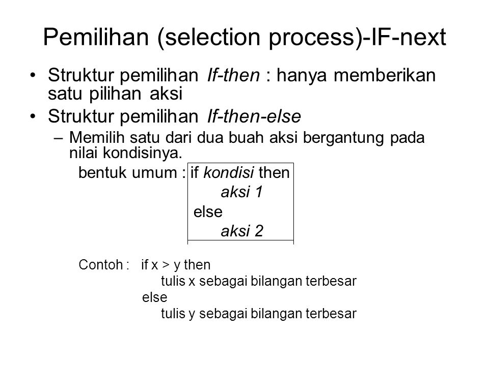 Pemilihan (selection process)-IF-next