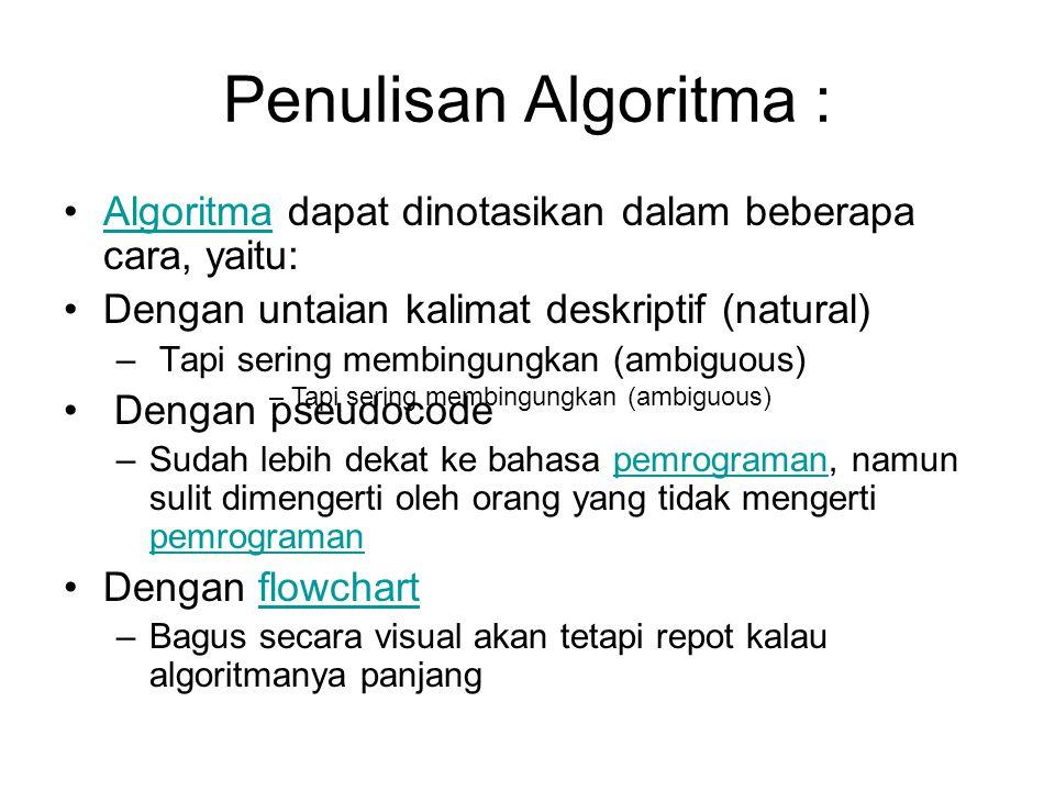 Penulisan Algoritma : Algoritma dapat dinotasikan dalam beberapa cara, yaitu: Dengan untaian kalimat deskriptif (natural)