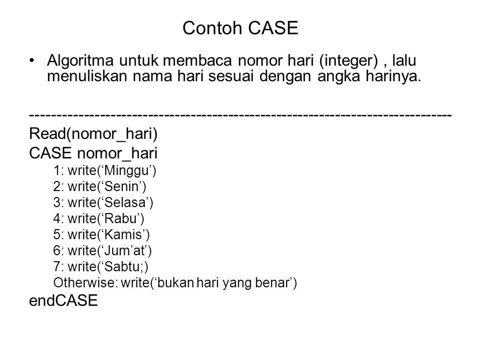 Contoh CASE Algoritma untuk membaca nomor hari (integer) , lalu menuliskan nama hari sesuai dengan angka harinya.