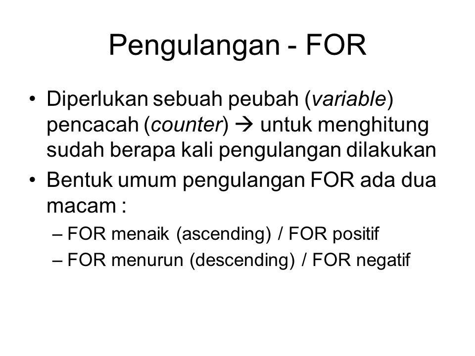 Pengulangan - FOR Diperlukan sebuah peubah (variable) pencacah (counter)  untuk menghitung sudah berapa kali pengulangan dilakukan.