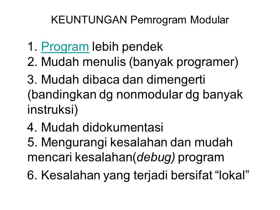 KEUNTUNGAN Pemrogram Modular