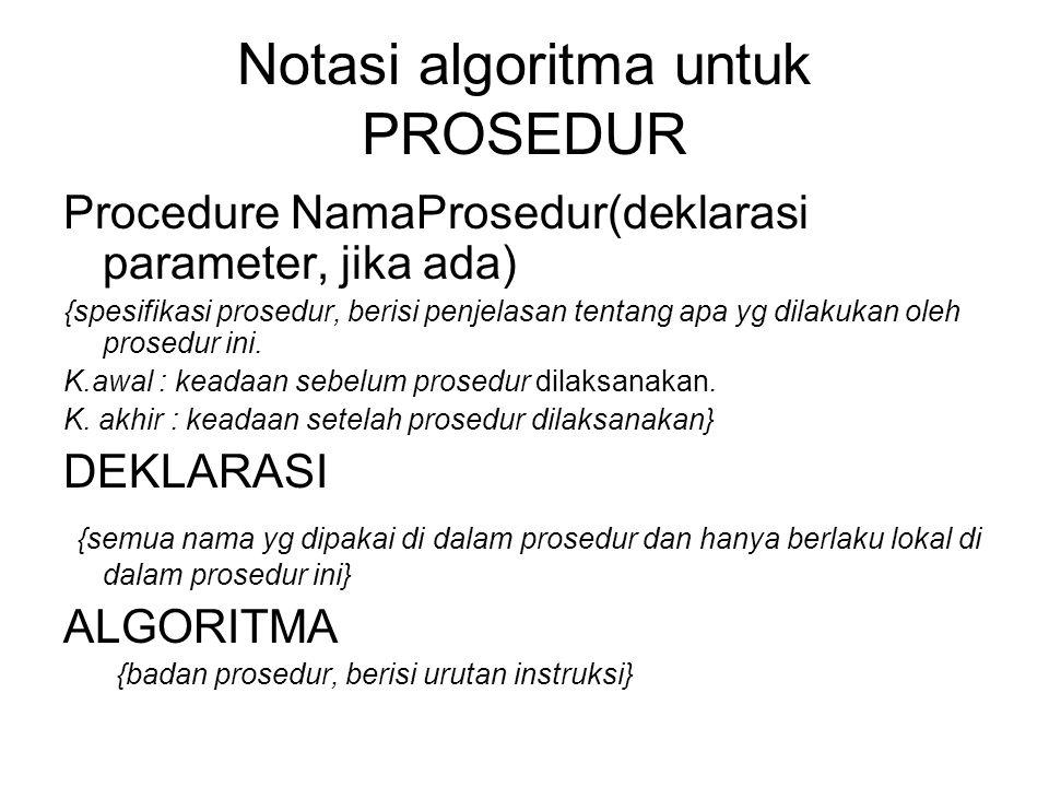 Notasi algoritma untuk PROSEDUR