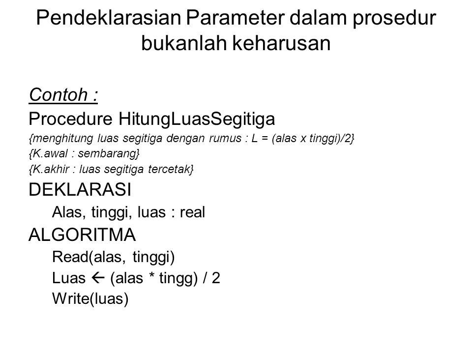 Pendeklarasian Parameter dalam prosedur bukanlah keharusan