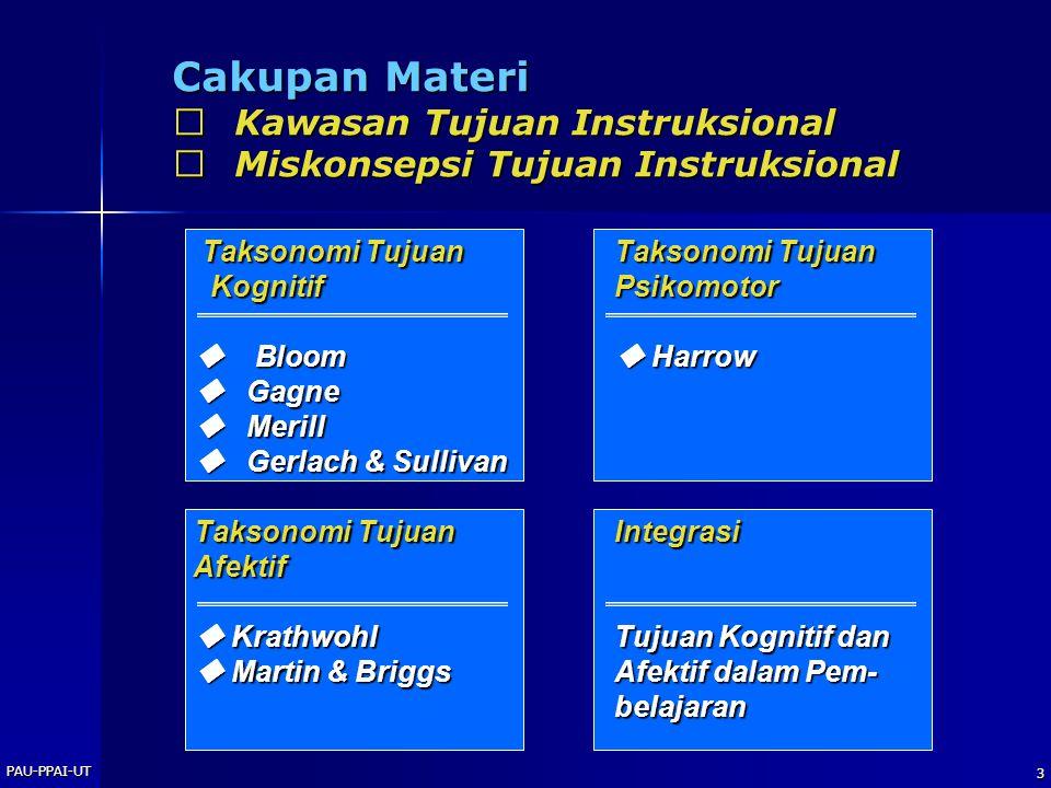 Cakupan Materi  Kawasan Tujuan Instruksional
