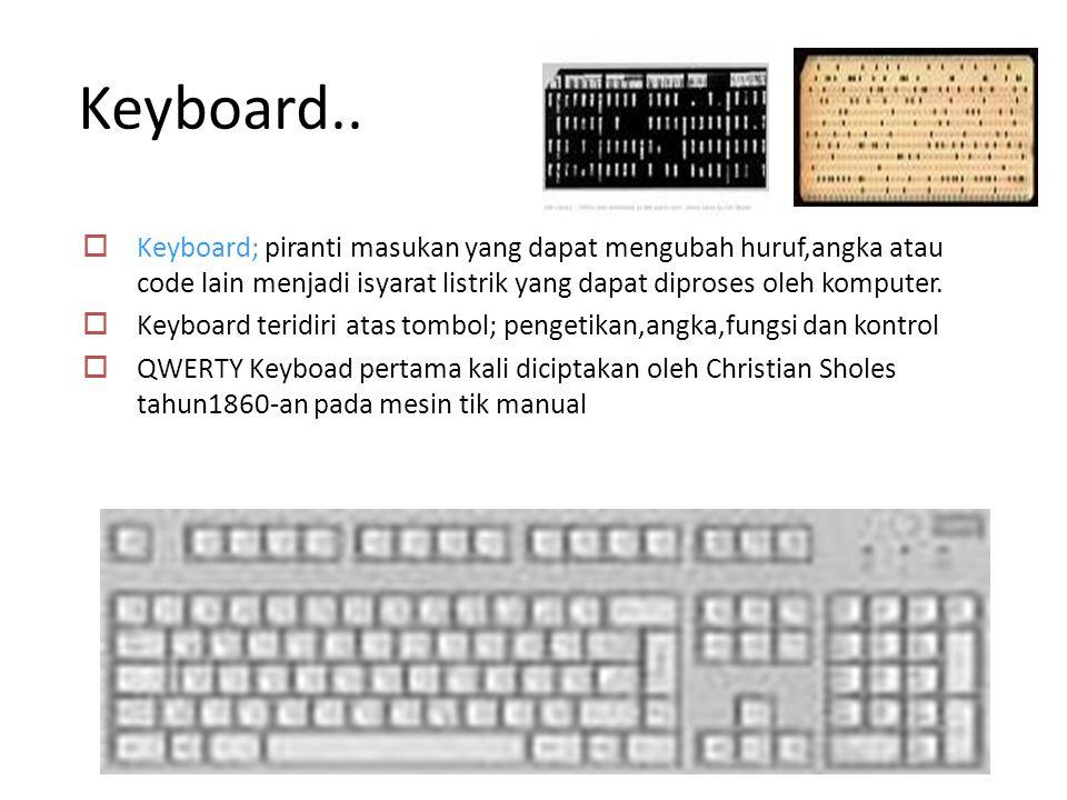 Keyboard.. Keyboard; piranti masukan yang dapat mengubah huruf,angka atau code lain menjadi isyarat listrik yang dapat diproses oleh komputer.