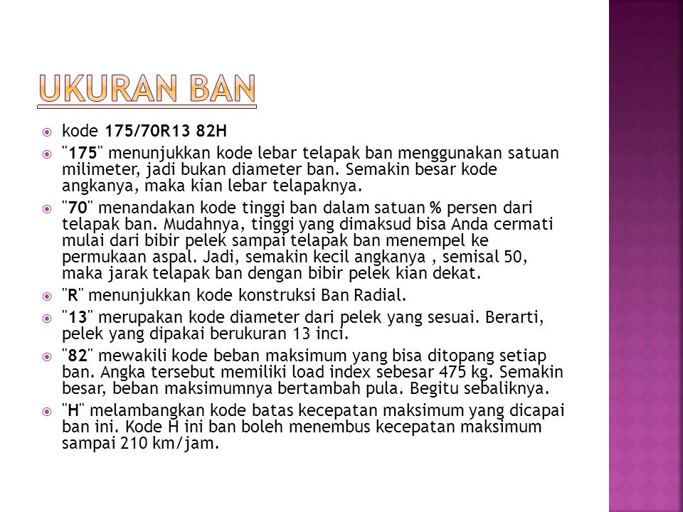UKURAN BAN kode 175/70R13 82H.