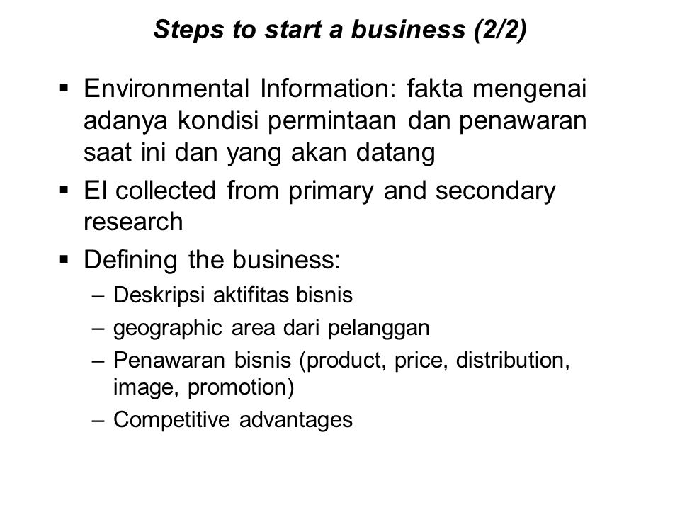 Steps to start a business (2/2)