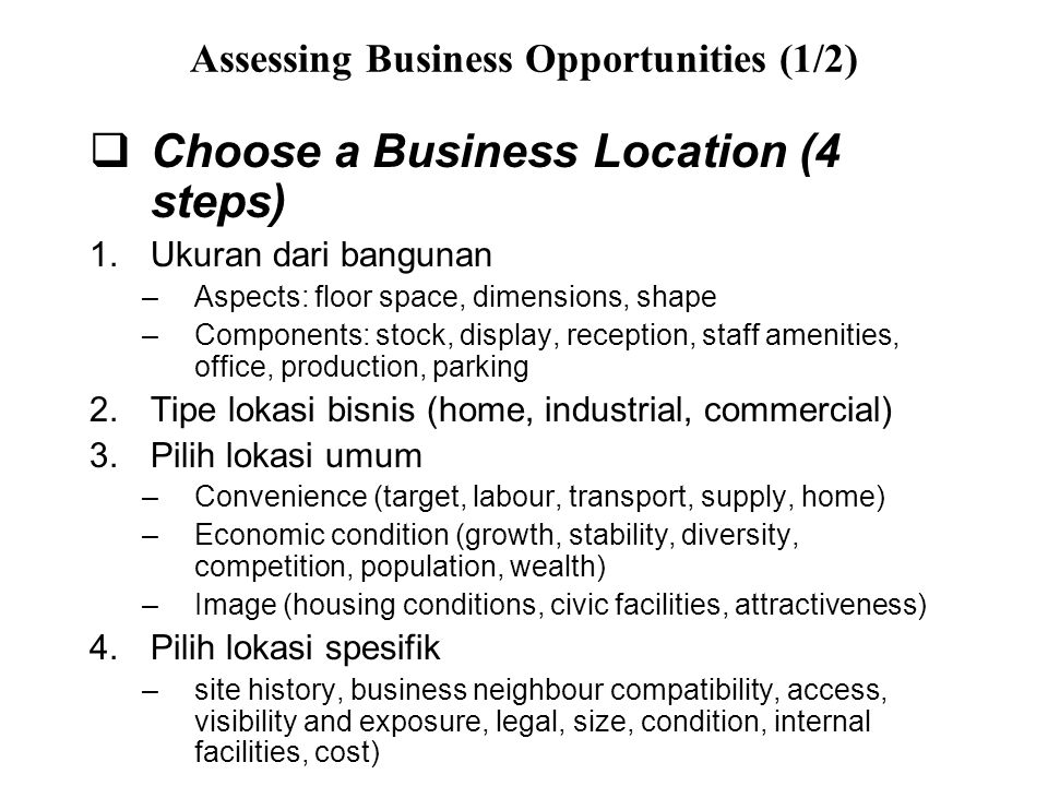 Assessing Business Opportunities (1/2)