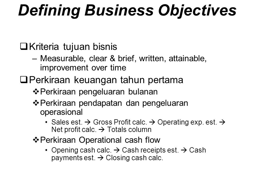 Defining Business Objectives
