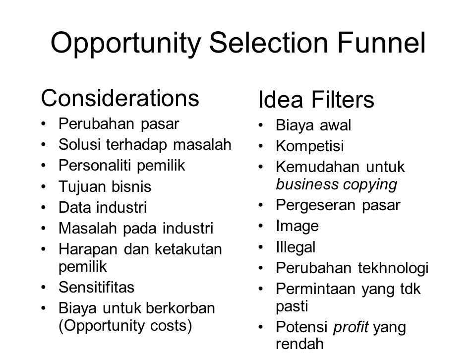 Opportunity Selection Funnel