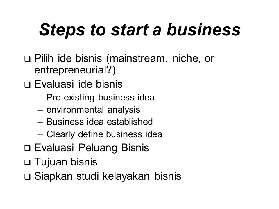 Steps to start a business