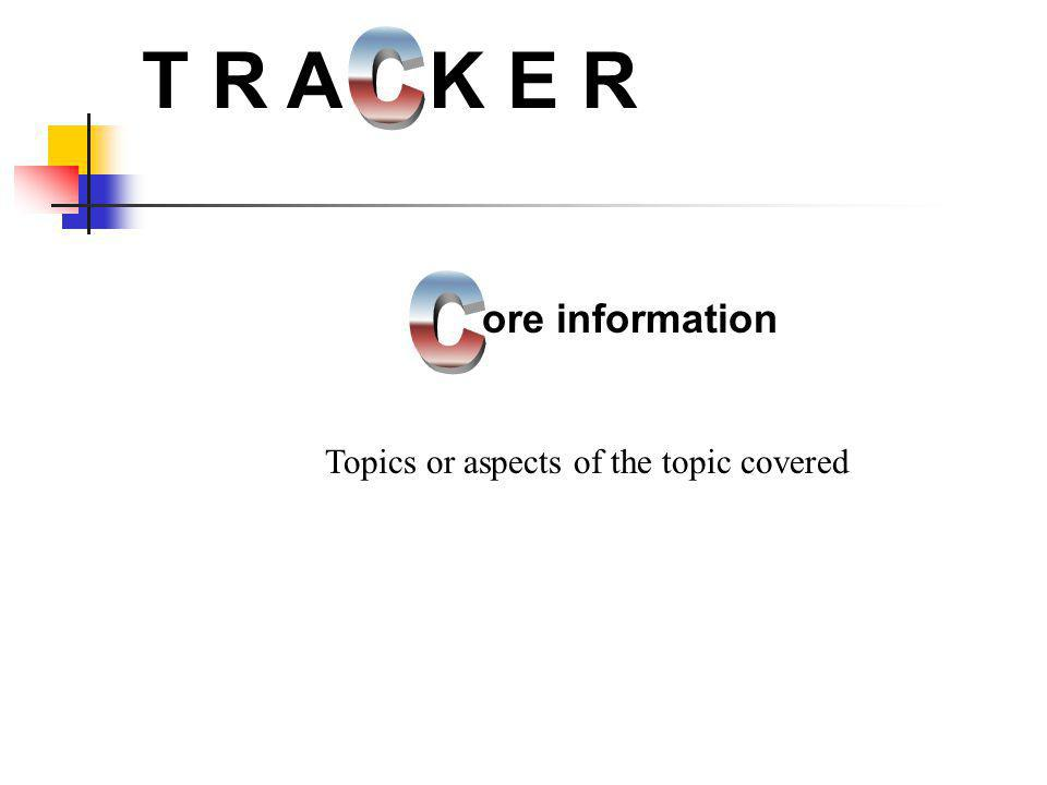 T R A K E R C C ore information Topics or aspects of the topic covered