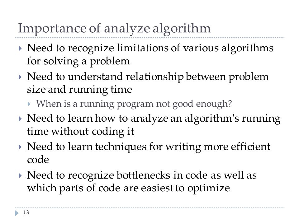 Importance of analyze algorithm