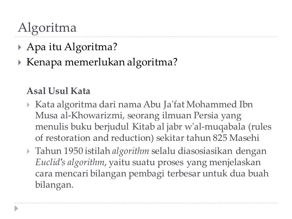 Algoritma Apa itu Algoritma Kenapa memerlukan algoritma