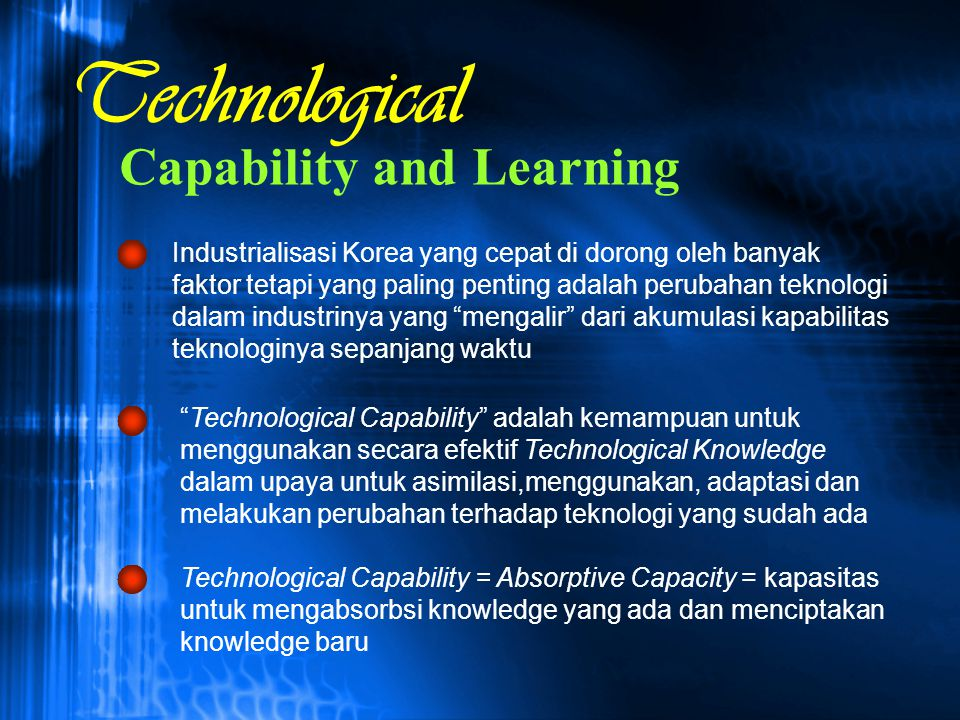 Technological Capability and Learning