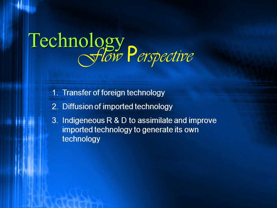 Technology Flow Perspective Transfer of foreign technology