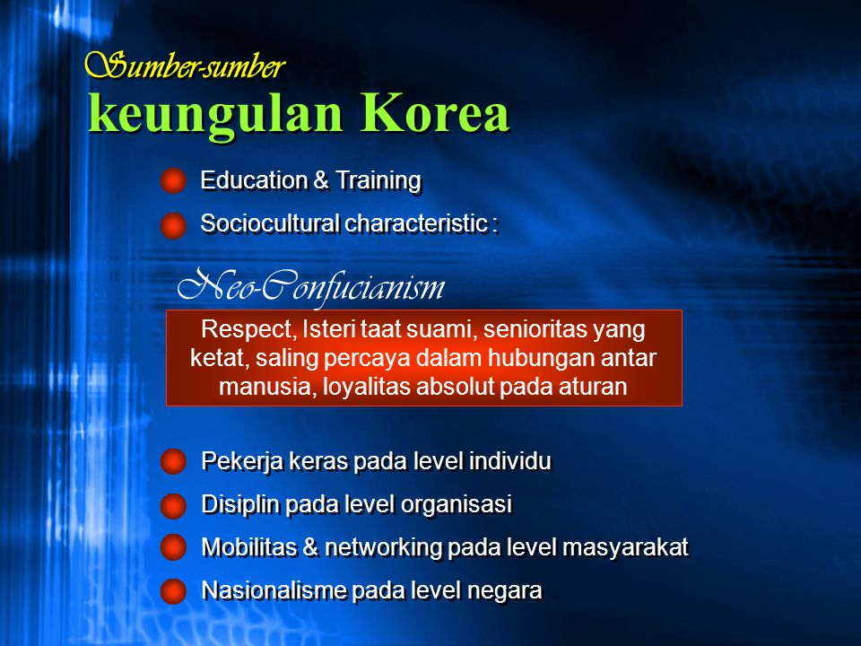 keungulan Korea Neo-Confucianism Sumber-sumber Education & Training