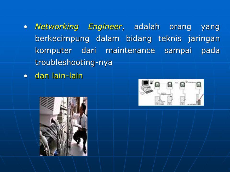 Networking Engineer, adalah orang yang berkecimpung dalam bidang teknis jaringan komputer dari maintenance sampai pada troubleshooting-nya