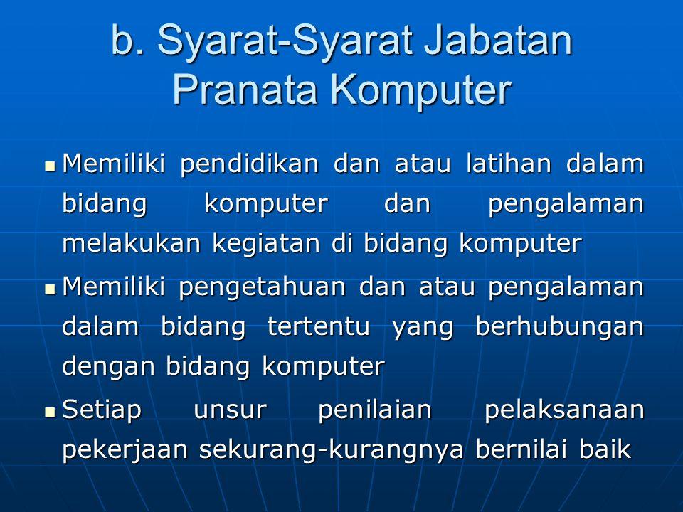 b. Syarat-Syarat Jabatan Pranata Komputer