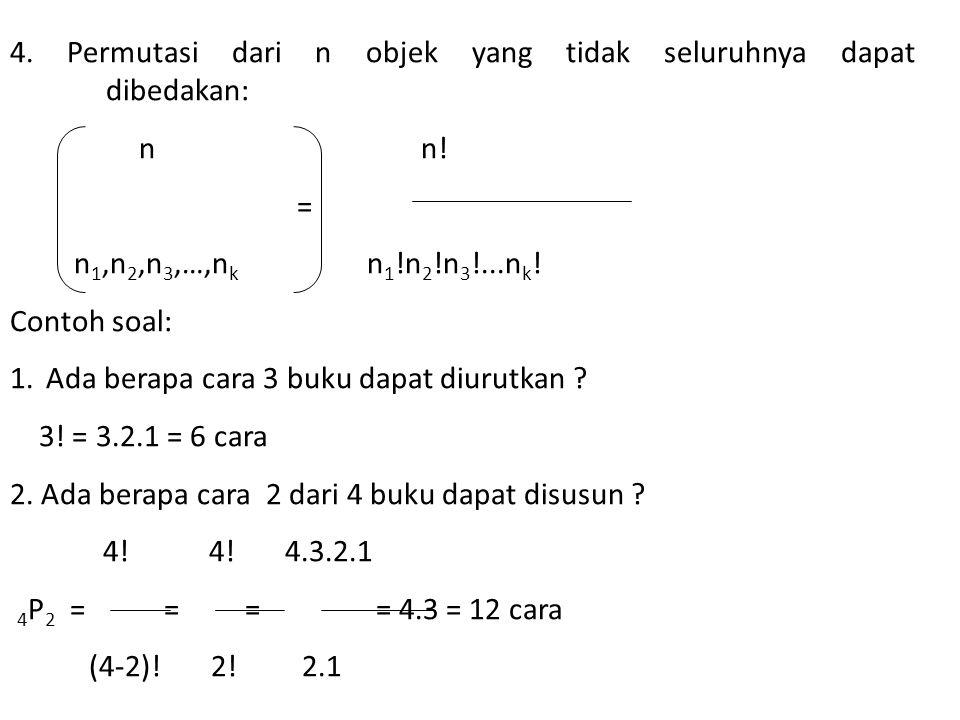 4. Permutasi dari n objek yang tidak seluruhnya dapat dibedakan:
