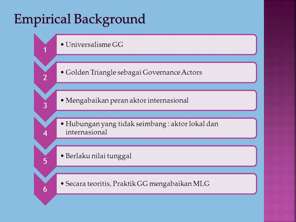 Empirical Background 1 Universalisme GG 2