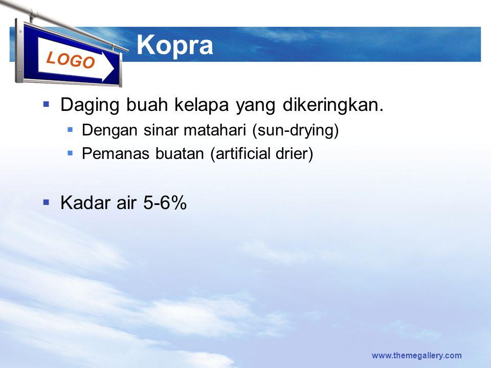 Kopra Daging buah kelapa yang dikeringkan. Kadar air 5-6%