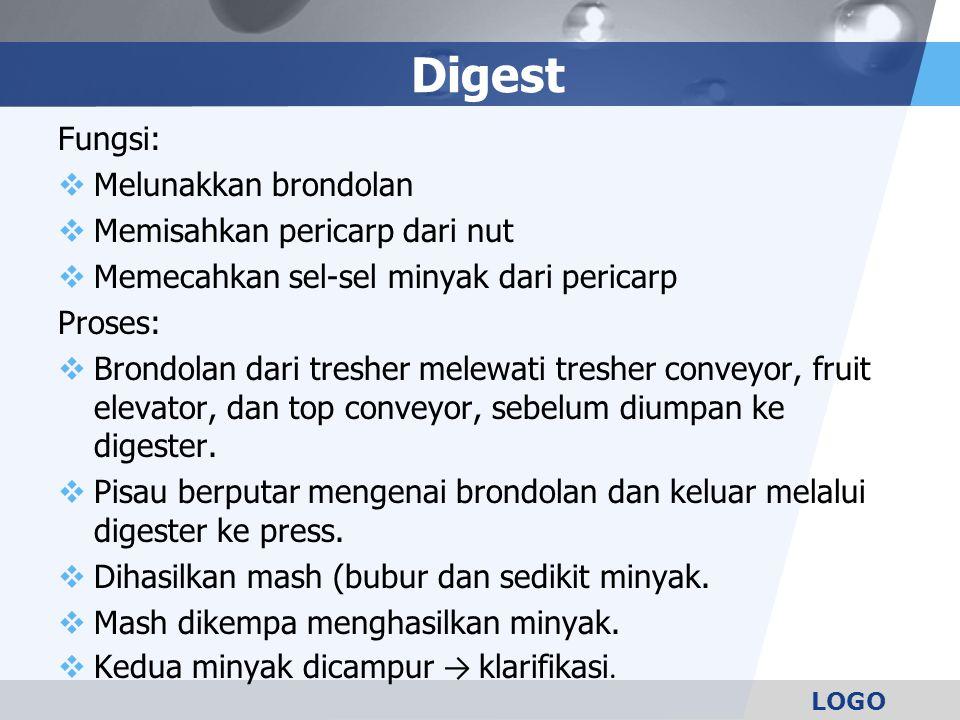 Digest Fungsi: Melunakkan brondolan Memisahkan pericarp dari nut