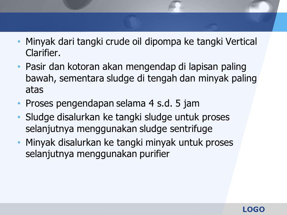 Minyak dari tangki crude oil dipompa ke tangki Vertical Clarifier.