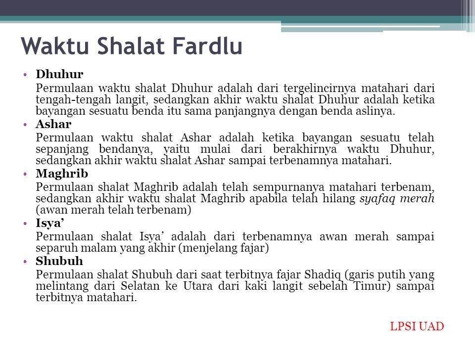 Waktu Shalat Fardlu Dhuhur