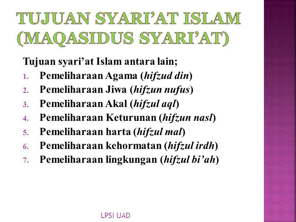 Tujuan Syari'at Islam (Maqasidus Syari'at)