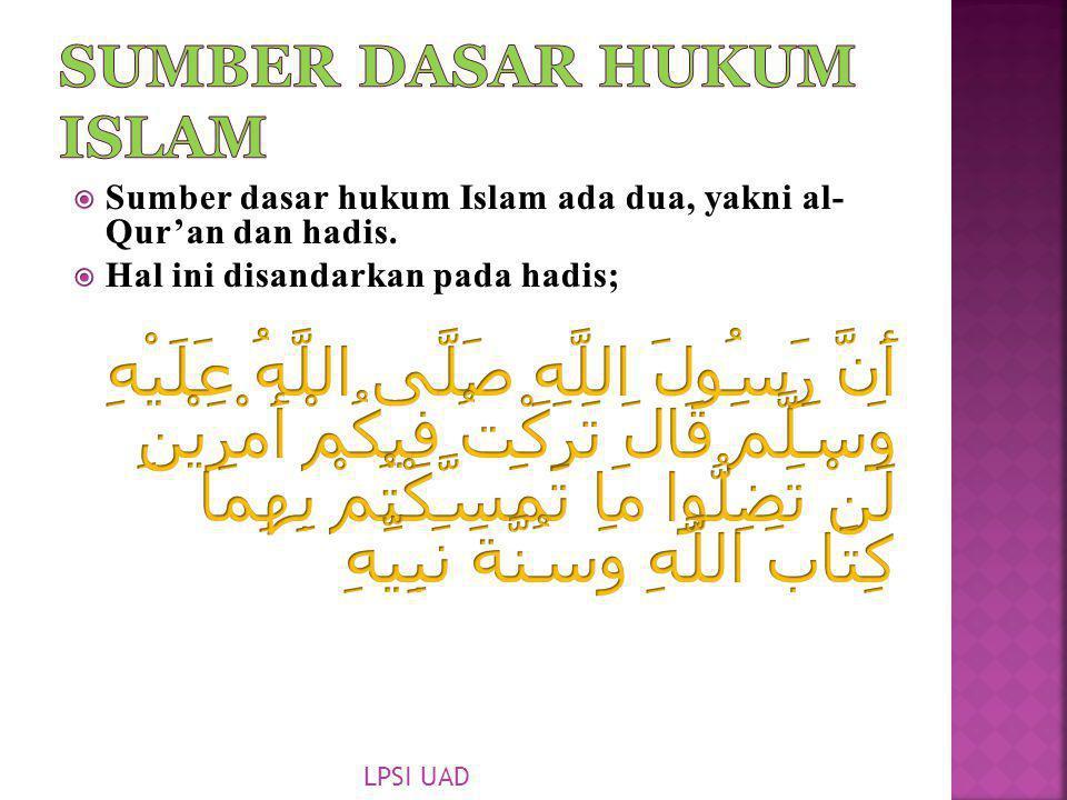 Sumber Dasar Hukum Islam
