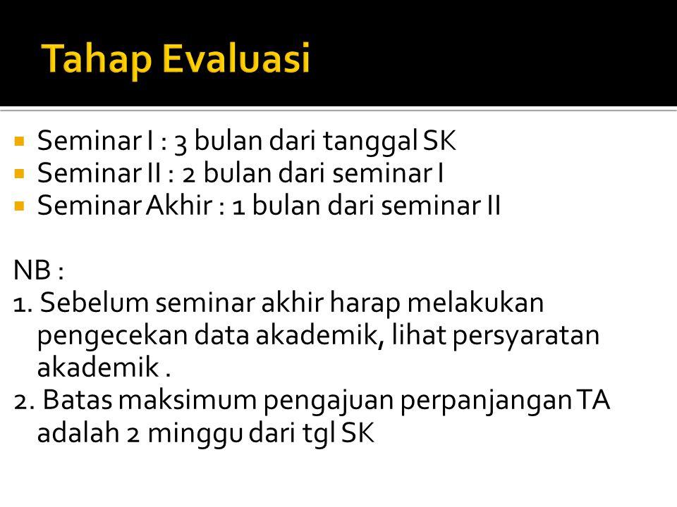Tahap Evaluasi Seminar I : 3 bulan dari tanggal SK