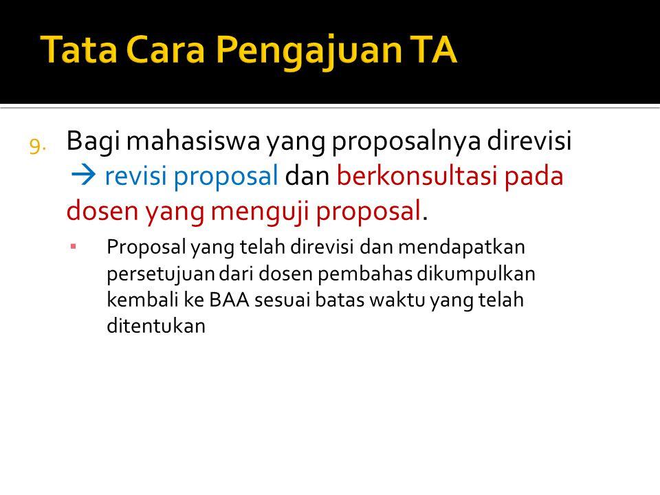Tata Cara Pengajuan TA Bagi mahasiswa yang proposalnya direvisi