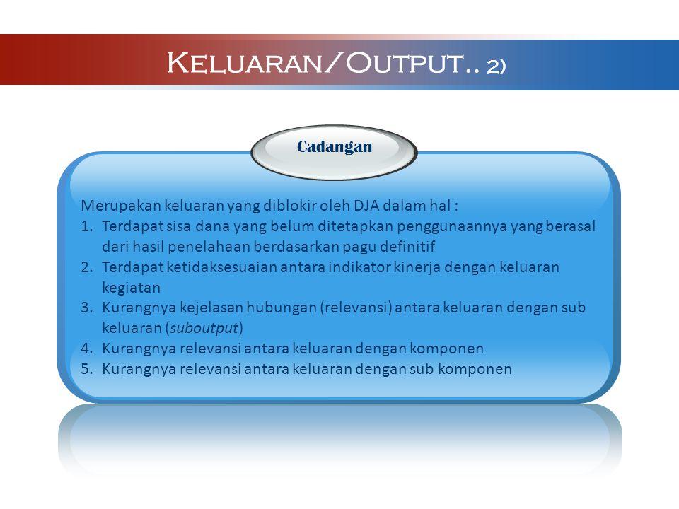 Keluaran/Output.. 2) Cadangan