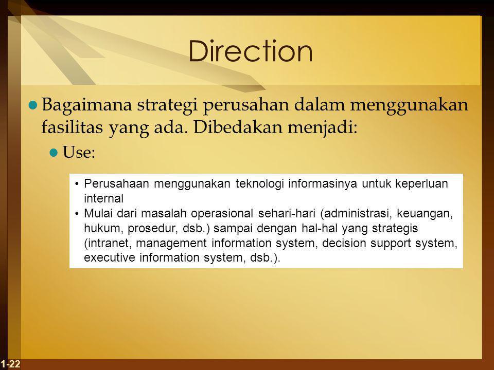 Direction Bagaimana strategi perusahan dalam menggunakan fasilitas yang ada. Dibedakan menjadi: Use: