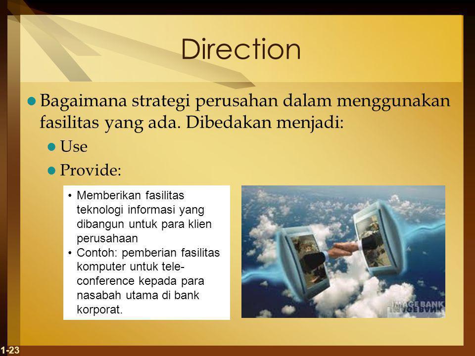 Direction Bagaimana strategi perusahan dalam menggunakan fasilitas yang ada. Dibedakan menjadi: Use.